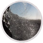 Behind The Waterfall Round Beach Towel by Richard Brookes