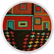 Behind Which Door Round Beach Towel by Barbara St Jean