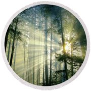 Behold The Light In The Fall Forest Round Beach Towel