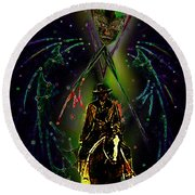 Round Beach Towel featuring the digital art Behold The Pale Rider  by Hartmut Jager
