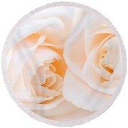 Beige Roses Round Beach Towel