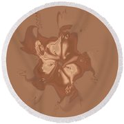 Beige Satin Morning Glory Round Beach Towel