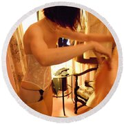 Being A Woman 1 Round Beach Towel by David Trotter