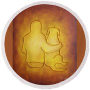 Being There 2 - Dog And Friend Round Beach Towel