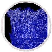 Beirut City Street Map - Beirut Lebanon Road Map Art On Color Round Beach Towel
