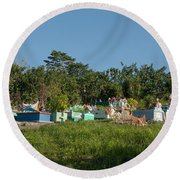 Belize Cemetery Round Beach Towel