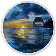 Belizean Sunrise Round Beach Towel by Donna Tuten
