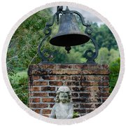 Bell Brick And Statue Round Beach Towel