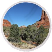 Round Beach Towel featuring the photograph Bell Rock And Courthouse Butte by Penny Meyers