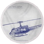 Bell Uh-1h Huey Helicopter  Round Beach Towel