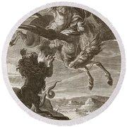 Bellerophon Fights The Chimaera, 1731 Round Beach Towel by Bernard Picart