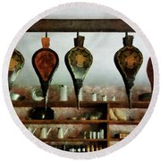 Round Beach Towel featuring the photograph Bellows In General Store by Susan Savad
