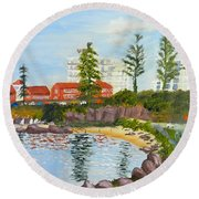 Round Beach Towel featuring the painting Belmore Basin From The North Sea Wall by Pamela  Meredith