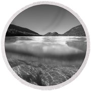 Below The Surface Of Jordan Pond Bw Round Beach Towel