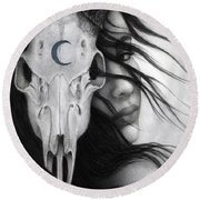 Round Beach Towel featuring the painting Beltane by Pat Erickson