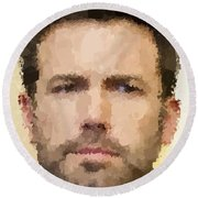 Ben Affleck Portrait Round Beach Towel by Samuel Majcen