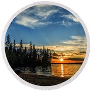 Beautiful Sunset At Waskesiu Lake Round Beach Towel