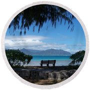 Bench Of Kaneohe Bay Hawaii Round Beach Towel by Jewels Blake Hamrick