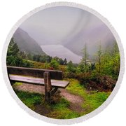 Bench Over The Upper Lake. Glendalough. Ireland Round Beach Towel