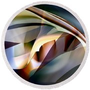 Bending Abstract Round Beach Towel by rd Erickson