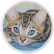 Bengal Kitten Round Beach Towel