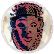 Benin Mask Round Beach Towel by Everett Spruill