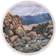 Round Beach Towel featuring the painting Benton by Donna Tucker