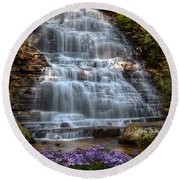 Benton Falls In Spring Round Beach Towel