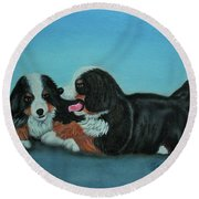 Round Beach Towel featuring the painting Bernese Mountain Puppies by Thomas J Herring