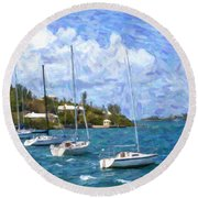 Round Beach Towel featuring the photograph Bermuda Sailboats by Verena Matthew