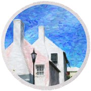 Round Beach Towel featuring the photograph Bermuda Side Street by Verena Matthew
