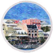 Round Beach Towel featuring the photograph Bermuda Waterfront by Verena Matthew