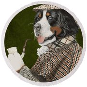 Berner Of The Baskerville Round Beach Towel