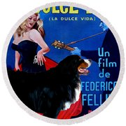 Bernese Mountain Dog Art Canvas Print - La Dolce Vita Movie Poster Round Beach Towel