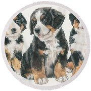 Bernese Mountain Dog Puppies Round Beach Towel