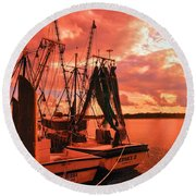 Round Beach Towel featuring the photograph Bernice And Bubba by Dennis Baswell