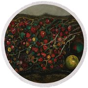 Berries And Apples Round Beach Towel