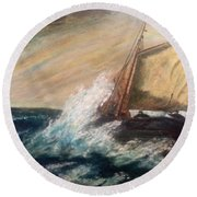 Round Beach Towel featuring the painting Berts Boat by Judith Desrosiers