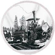 Best Steam Traction Engine Round Beach Towel