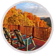 Best View In Town  Round Beach Towel