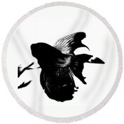 Beta In Black And White Round Beach Towel by Jennifer Muller