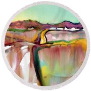 Round Beach Towel featuring the painting Bethel Road by Teresa Ascone