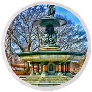Bethesda Fountain - Angel Of The Waters Round Beach Towel