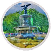 Bethesda Fountain Angel Profile Round Beach Towel
