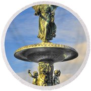 Bethesda Fountain Angel Statue Round Beach Towel