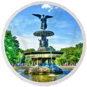 Bethesda Fountain At Central Park Round Beach Towel