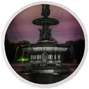 Bethesda Fountain At Night Round Beach Towel