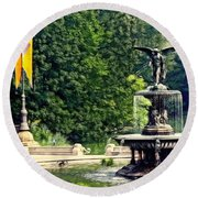 Bethesda Fountain Central Park Round Beach Towel
