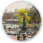 Bethesda Fountain Central Park Nyc Round Beach Towel