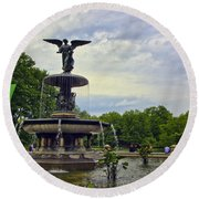 Bethesda Fountain II Round Beach Towel